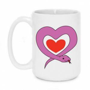 Mug 450ml Cute snake heart - PrintSalon