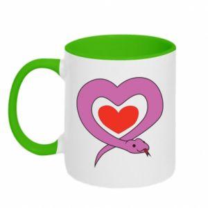 Two-toned mug Cute snake heart - PrintSalon