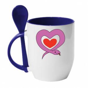 Mug with ceramic spoon Cute snake heart - PrintSalon