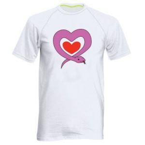 Men's sports t-shirt Cute snake heart - PrintSalon