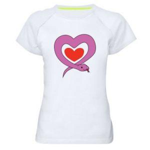Women's sports t-shirt Cute snake heart - PrintSalon