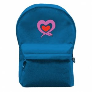 Backpack with front pocket Cute snake heart - PrintSalon