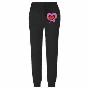 Męskie spodnie lekkie Cute snake heart - PrintSalon