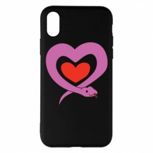 Phone case for iPhone X/Xs Cute snake heart - PrintSalon