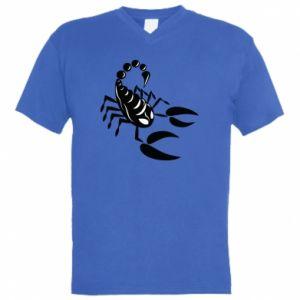 Męska koszulka V-neck Czarny skorpion - PrintSalon