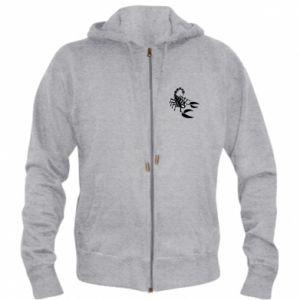 Męska bluza z kapturem na zamek Czarny skorpion - PrintSalon