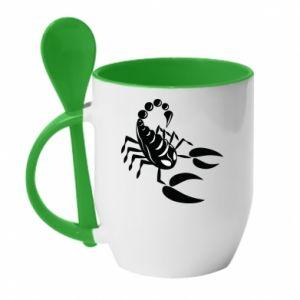 Kubek z ceramiczną łyżeczką Czarny skorpion - PrintSalon