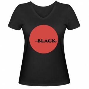 Damska koszulka V-neck Вlack
