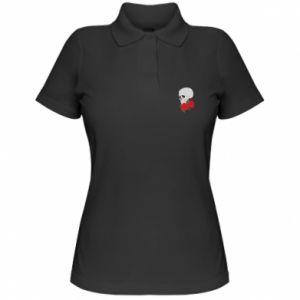 Damska koszulka polo Czaszka w kwiatach