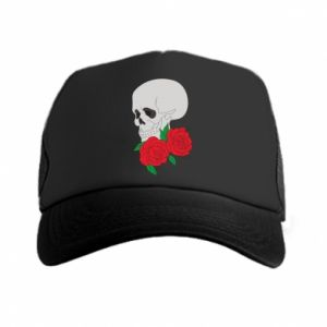 Trucker hat Skull in flowers
