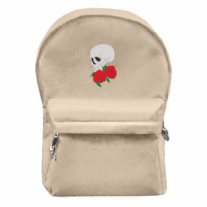 Backpack with front pocket Skull in flowers