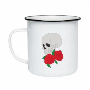 Enameled mug Skull in flowers