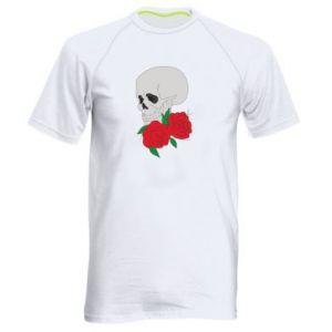 Men's sports t-shirt Skull in flowers