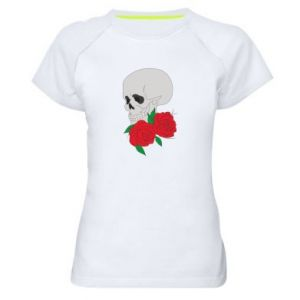 Women's sports t-shirt Skull in flowers