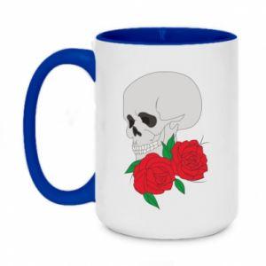 Two-toned mug 450ml Skull in flowers