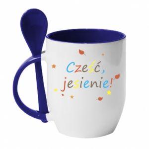 Kubek z ceramiczną łyżeczką Cześć, jesienie!