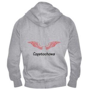 Męska bluza z kapturem na zamek Częstochowa ze skrzydłami