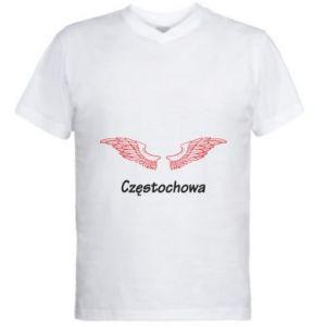 Męska koszulka V-neck Częstochowa ze skrzydłami