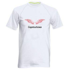 Męska koszulka sportowa Częstochowa ze skrzydłami