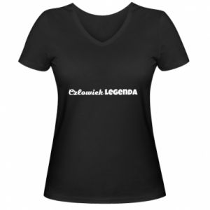 Damska koszulka V-neck Człowiek legenda