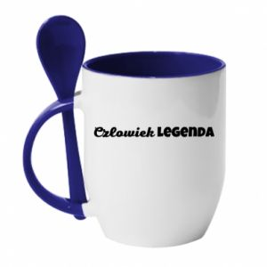 Kubek z ceramiczną łyżeczką Człowiek legenda