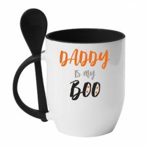 Mug with ceramic spoon Daddy is my boo - PrintSalon