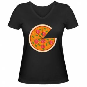 Women's V-neck t-shirt Daddy's pizza - PrintSalon