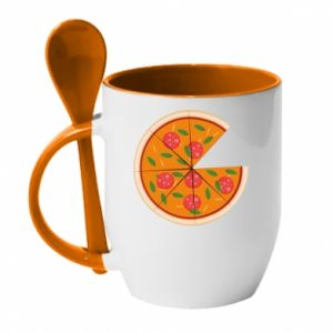 Mug with ceramic spoon Daddy's pizza - PrintSalon