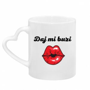 Mug with heart shaped handle Kiss me