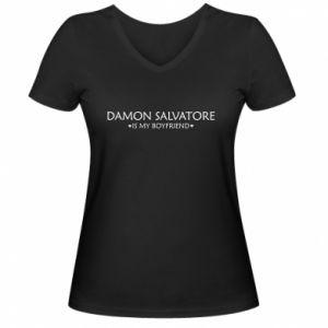 Damska koszulka V-neck Damon Salvatore is my boyfriend