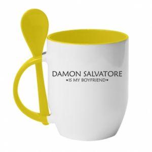 Kubek z ceramiczną łyżeczką Damon Salvatore is my boyfriend