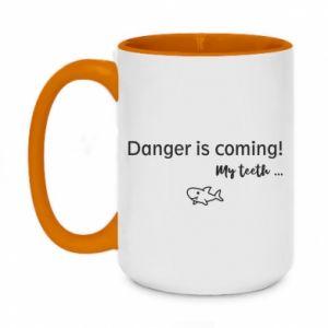 Kubek dwukolorowy 450ml Danger is coming! My teeth ...