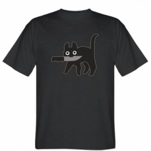 T-shirt Dangerous cat with a knife