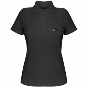Women's Polo shirt Dangerous cat with a knife