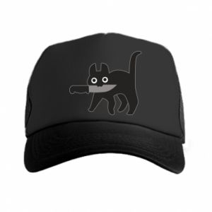 Trucker hat Dangerous cat with a knife