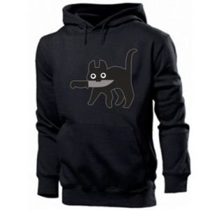 Men's hoodie Dangerous cat with a knife