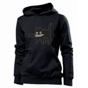 Women's hoodies Dangerous cat with a knife