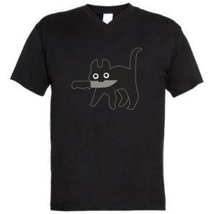 Męska koszulka V-neck Dangerous cat with a knife
