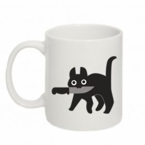 Mug 330ml Dangerous cat with a knife