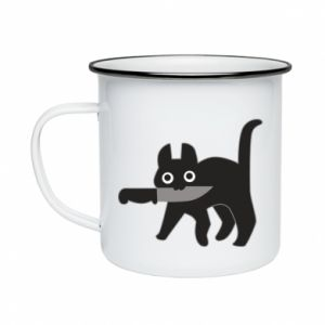 Enameled mug Dangerous cat with a knife