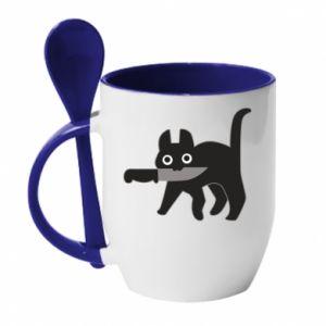 Kubek z ceramiczną łyżeczką Dangerous cat with a knife