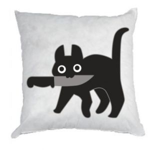 Pillow Dangerous cat with a knife