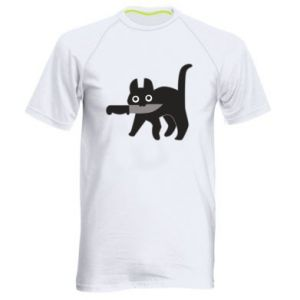 Men's sports t-shirt Dangerous cat with a knife