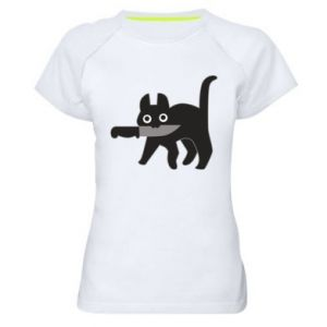 Women's sports t-shirt Dangerous cat with a knife