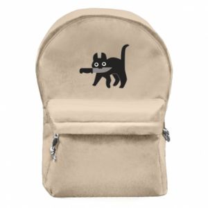 Backpack with front pocket Dangerous cat with a knife