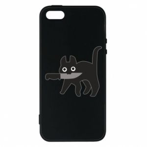 Phone case for iPhone 5/5S/SE Dangerous cat with a knife