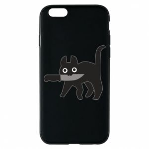Phone case for iPhone 6/6S Dangerous cat with a knife
