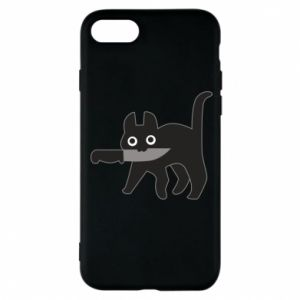 Phone case for iPhone 8 Dangerous cat with a knife