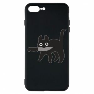 Phone case for iPhone 8 Plus Dangerous cat with a knife