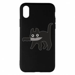 Phone case for iPhone X/Xs Dangerous cat with a knife